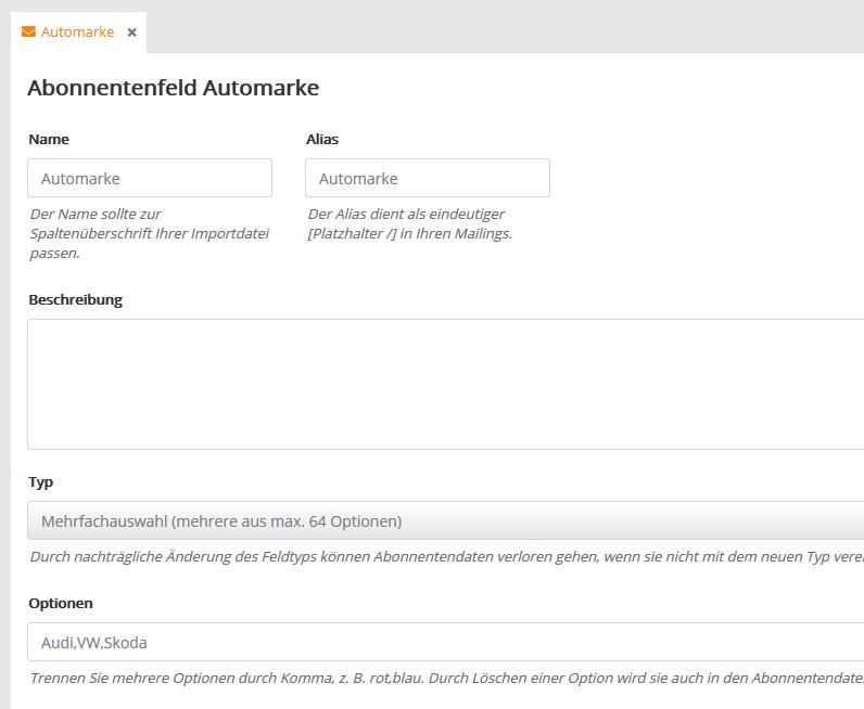 Abonnentenfeld Automarke